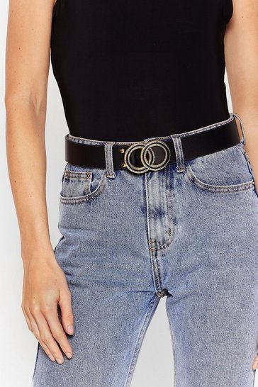 Black Make That a Double Faux Leather Belt