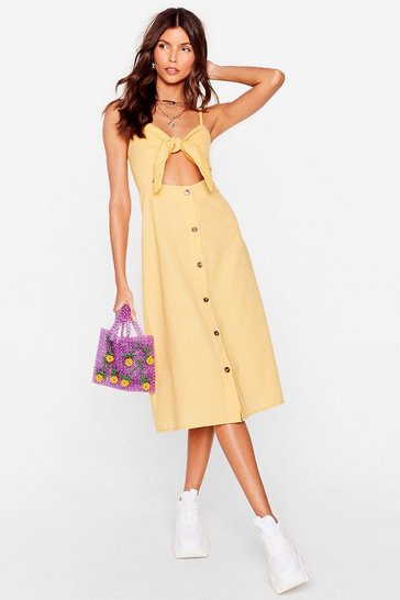 Mustard  Tie Front Button up Midi Linen Dress
