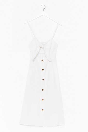 White  Tie Front Button up Midi Linen Dress