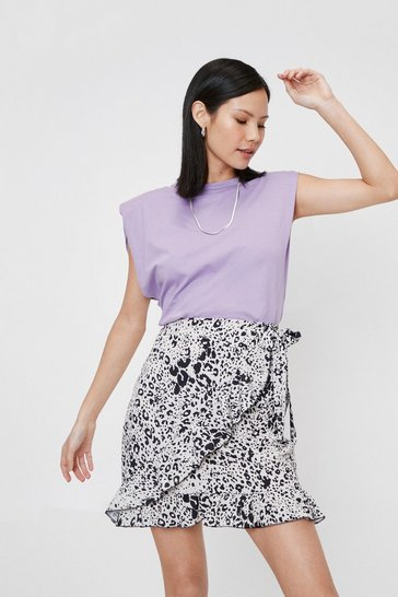 Stone Leopard Bow Tie Closure Wrap Mini Skirt
