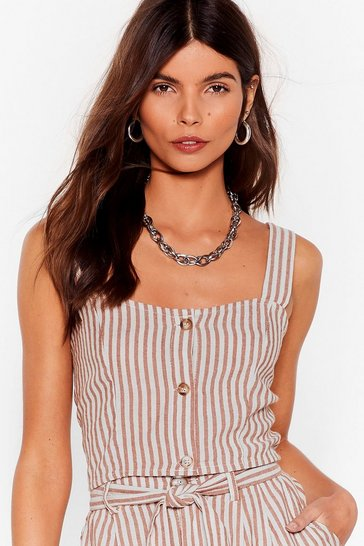 Tan We're Just Your Stripe Linen Crop Top