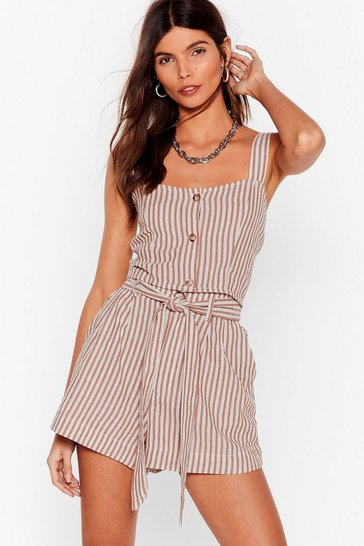 Tan We're Just Your Stripe Linen Belted Shorts