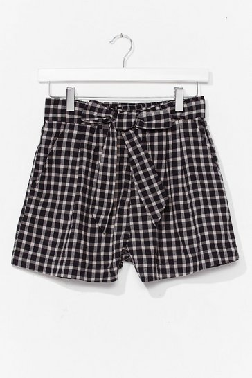 Black Gingham Your Attention Paperbag Belted Shorts