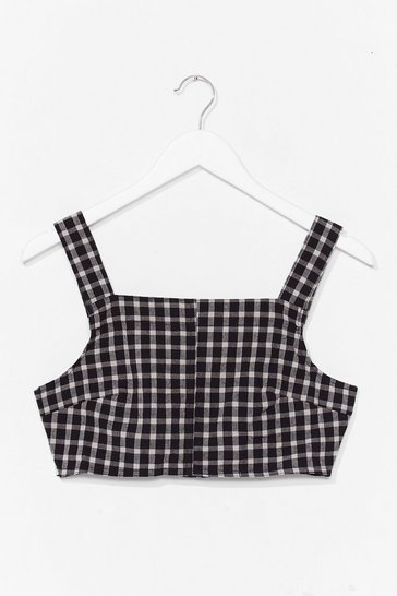 Black Gingham Your Attention Square Neck Crop Top