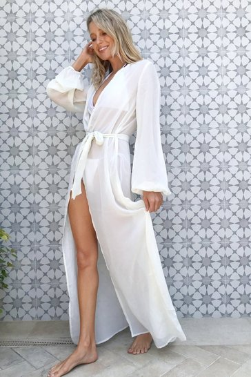 Cream Belted Cover Up Beach Maxi Dress