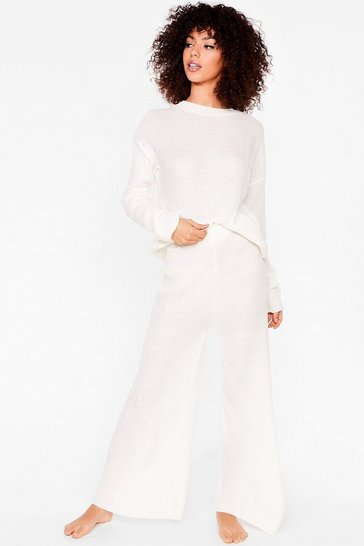 Cream Love You Culotte Knit Sweater and Pants Lounge Set