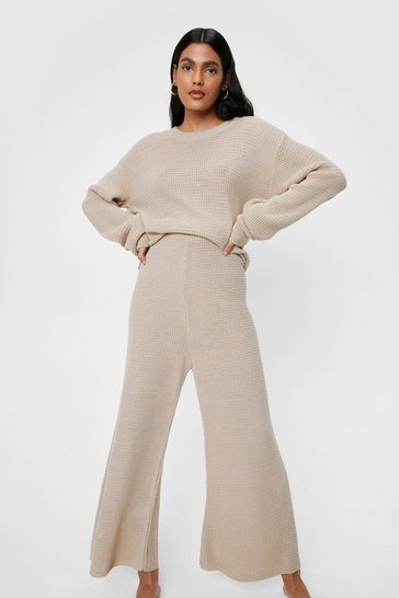 Oatmeal Love You Culotte Knit Sweater and Pants Lounge Set