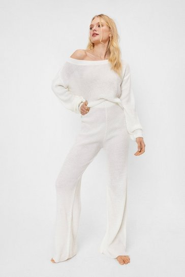 Cream Leave the Rest to Us Wide-Leg Pants Lounge Set