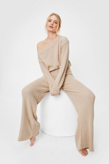 Oatmeal Leave the Rest to Us Wide-Leg Pants Lounge Set