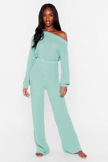 Sage Waffle Knit Jumper and Trousers Set