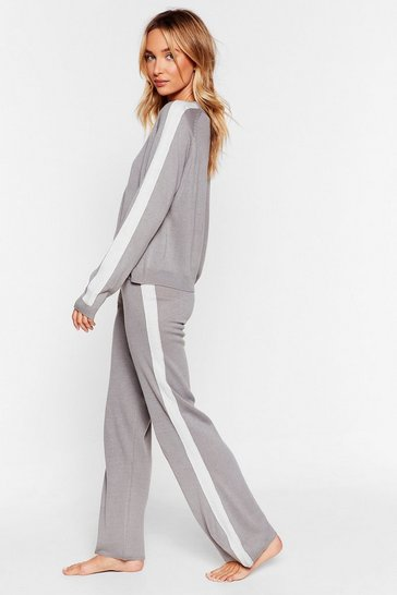 Grey Knit's Alright Stripe Wide-Leg Lounge Set
