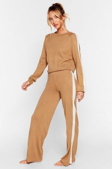 Camel We're Your Stripe Sweater and Pants Lounge Set