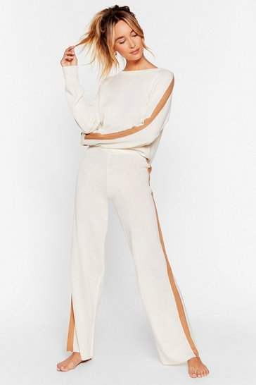 Ecru We're Your Stripe Jumper and Trousers Lounge Set