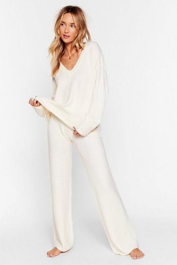 Ivory Knit Pause V-Neck Jumper and Trousers Lounge Set