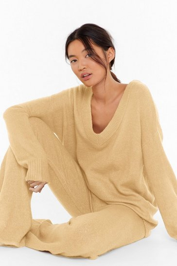 Sand Sounds Good to V-Neck Knitted Pants Lounge Set