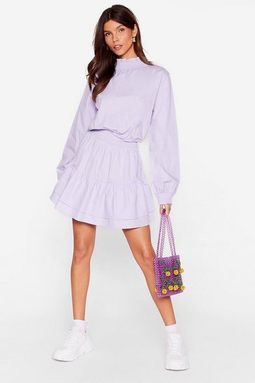 Lilac High Neck Tiered Mini Dress