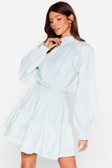 Mint High Neck Tiered Mini Dress