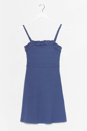 Dusty blue Ruffle Up Trouble Mini Dress