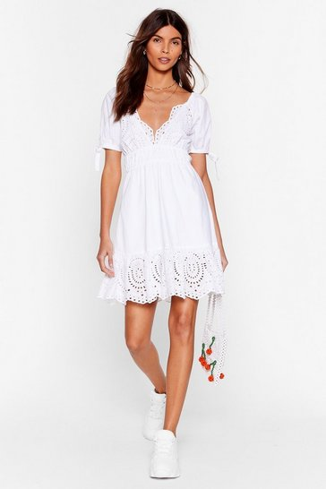 White For the Frill of It Broderie Anglaise Mini Dress