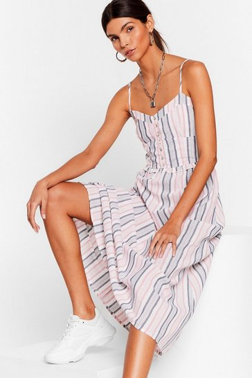 Pink It Feels Stripe Ruffle Midi Dress