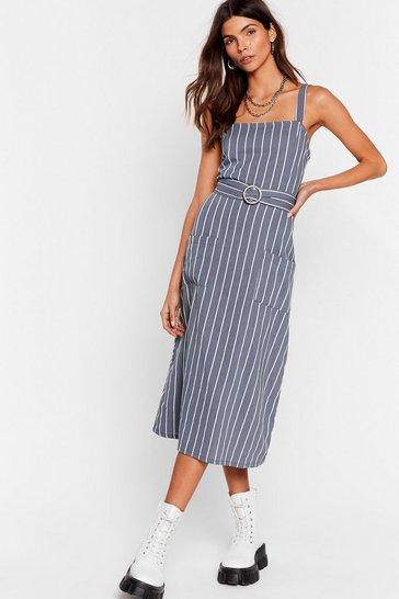 Blue We're Not Always Stripe Belted Midi Dress