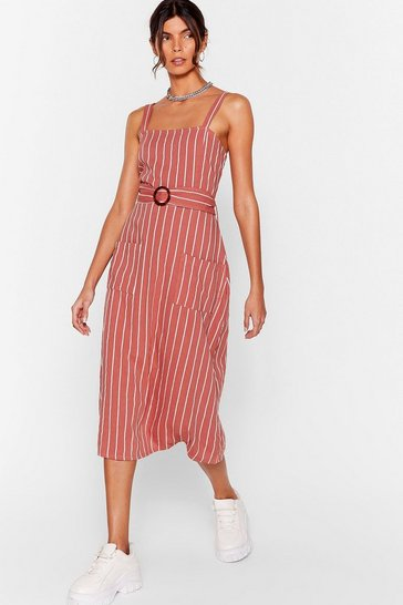 Rust We're Not Always Stripe Belted Midi Dress