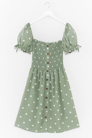 Sage Shirred It Here First Polka Dot Mini Dress