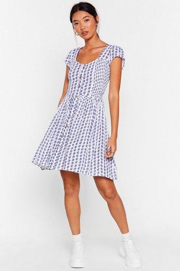 White In the Midnight Flower Button-Down Mini Dress
