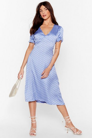 Cornflower blue We Spot It Right Satin Midi Dress