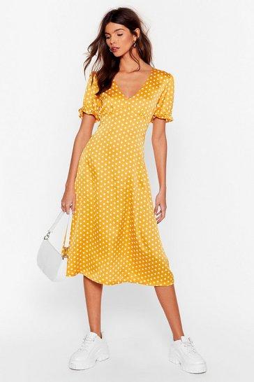 Mustard We Spot It Right Satin Midi Dress