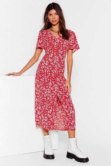 Red Stalk It Out Floral Midi Dress