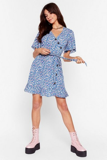 Blue Button to You Floral Wrap Dress
