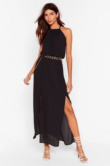 Black Now That You're Sheer Chiffon Maxi Dress
