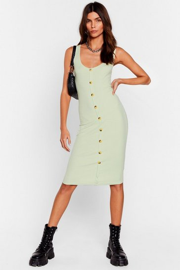 Lime Button-Down to Play Ribbed Midi Dress