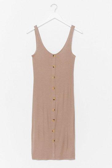 Mushroom Button-Down to Play Ribbed Midi Dress