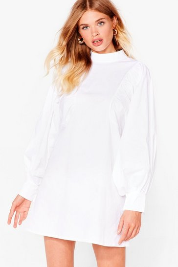 White Poplin Batwing Dress