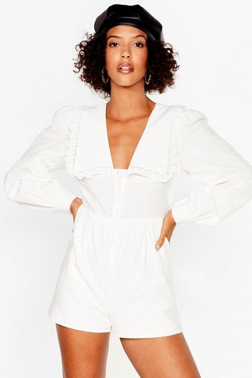 White Collar detail linen blend playsuit