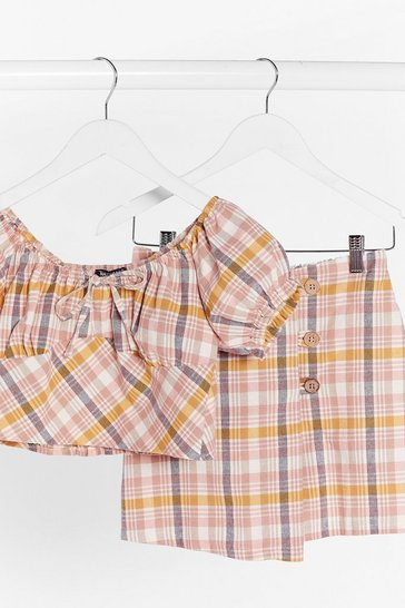Pink Check Up On It Linen Puff Sleeve Top