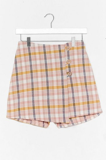 Pink Check Linen Button Front Wrap Skort