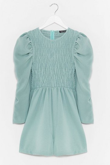 Sage Shirred It All Before Puff Sleeve Romper