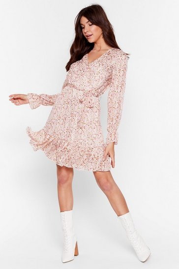 Beige Plant Go Wrong Floral Belted Mini Dress