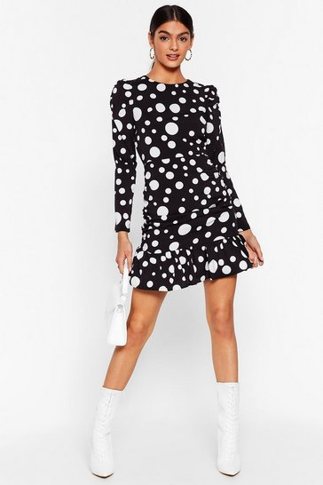 Black Dot With Me Ruched Mini Dress