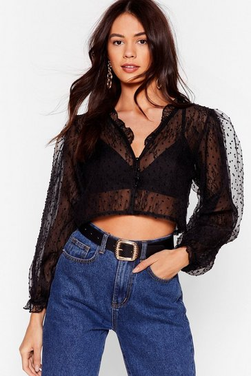 Black And Heaven Blouse Cropped Sheer Blouse