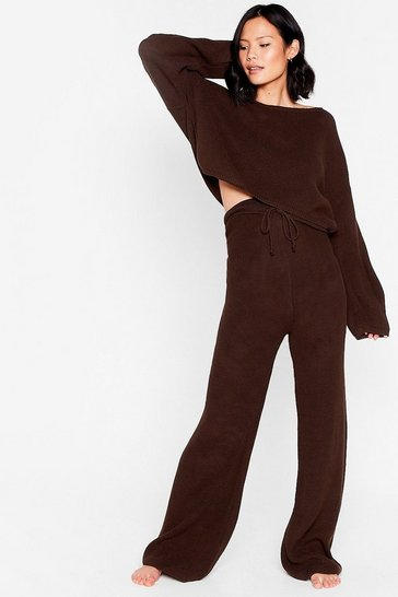 Chocolate Knit Again Sweater and Flare Pants Lounge Set