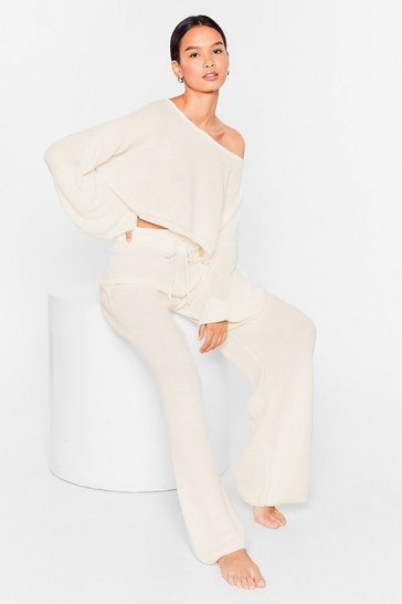 Cream Knit Again Sweater and Flare Pants Lounge Set