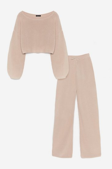 Oatmeal Knit Again Sweater and Flare Pants Lounge Set