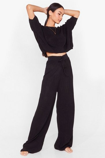 Black Let's Stay Home Knitted Pants Lounge Set