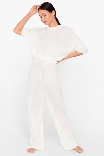 Cream Let's Stay Home Knitted Trousers Lounge Set