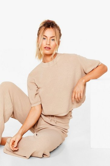 Oatmeal Knitted Wide Leg Pants Loungewear Set