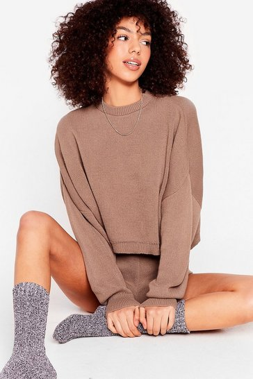 Brown Knits Bound to Happen Sweater and Shorts Set
